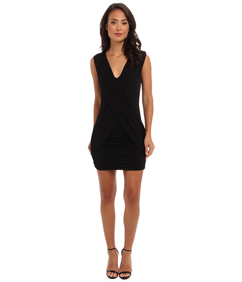 BCBGMAXAZRIA - Alondra Gathered Cocktail Dress NYC6F442 (Black) Women's Dress