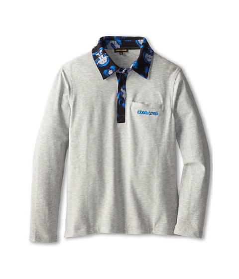 Roberto Cavalli Kids - Jersey L/S Polo w/ Blue Leopard Print Trim (Big Kids 2) (Grey) Boy