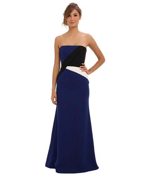 BCBGMAXAZRIA - Audrianna Strapless Colorblock Gown (Deep Royal Blue) Women's Dress