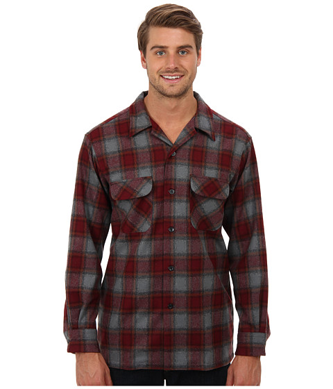 Pendleton - L/S Board Shirt (Burgundy/Brown/Rust/Plaid) Men's Long Sleeve Button Up