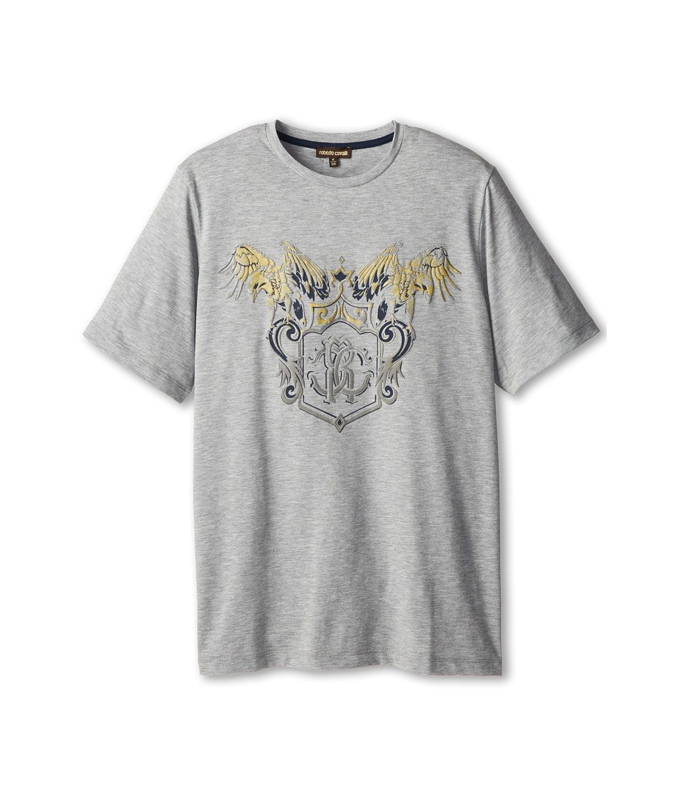 Roberto Cavalli Kids - Gold Raised Print S/S Tee (Big Kids 2) (Light Grey) Boy's Short Sleeve Pullover
