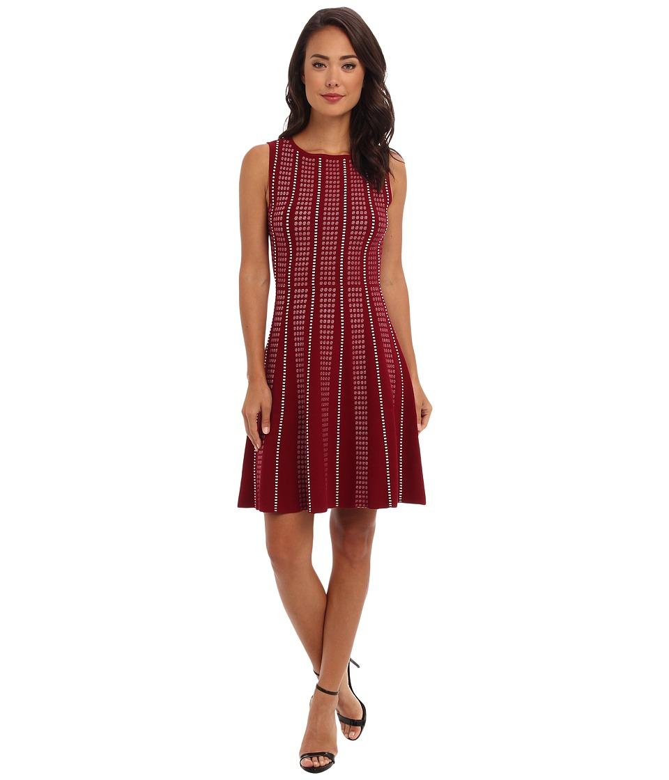 BCBGMAXAZRIA - Victoria A-Line Sweater Dress (Deep Cranberry Combo) Women's Dress