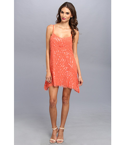 Free People - Beaded Mesh Cocktail Dress (Coral Reef) Women