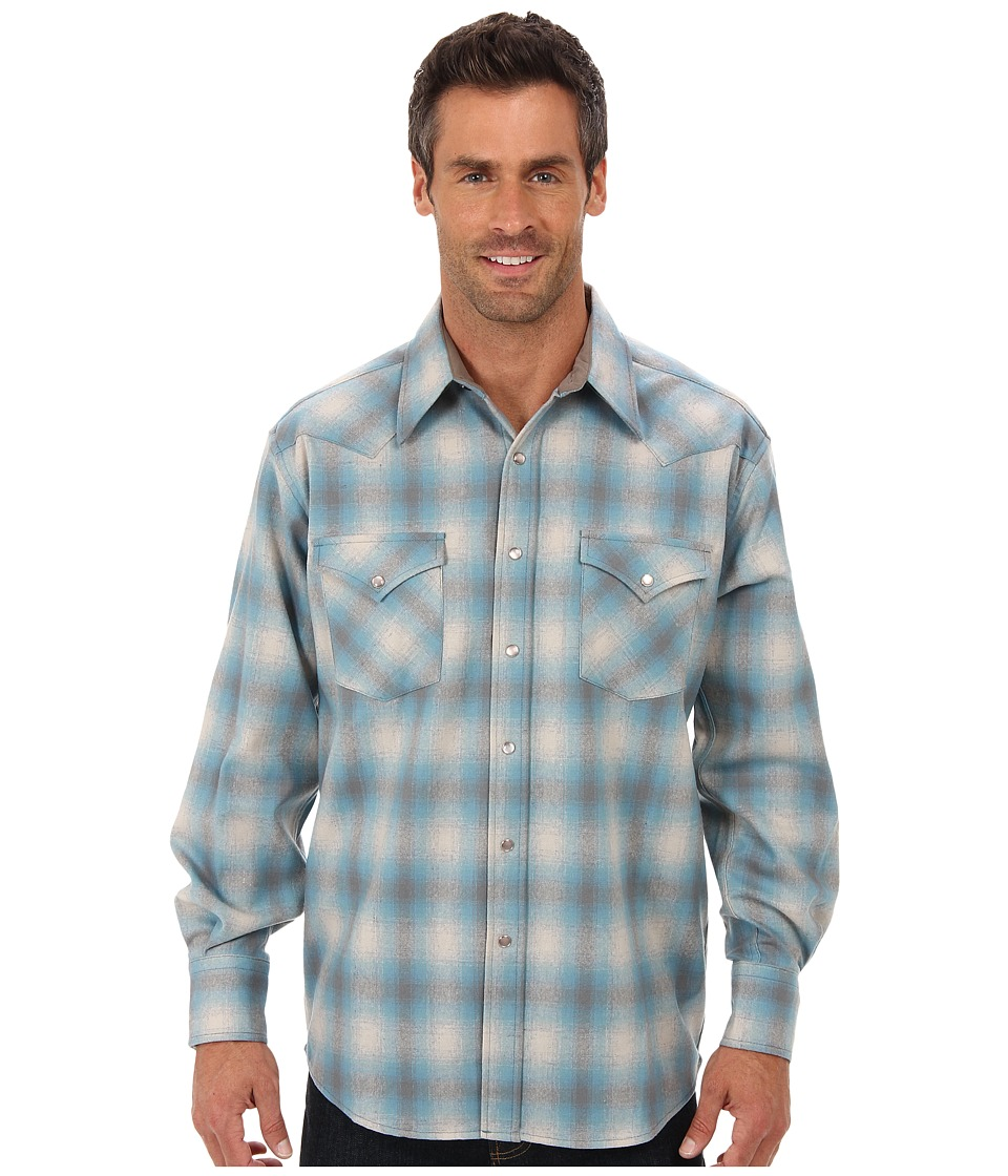 Pendleton - L/S Canyon Shirt (Blue/Grey Ombre) Men's Long Sleeve Button Up