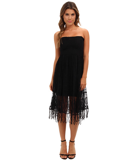 Free People - Convertible Floral Mesh Slip Dress (Black) Women