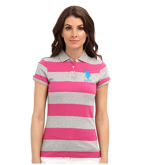 U.S. POLO ASSN. - Wide Striped Polo with Big Embroidered Pony (Totally Pink) Women