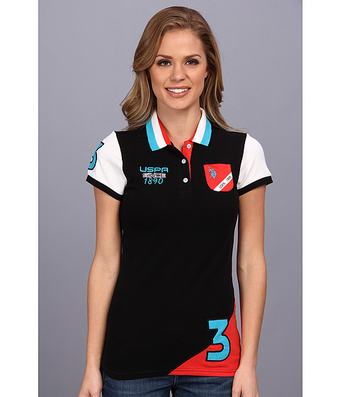 U.S. POLO ASSN. - Color Block Polo with Embroidery (Black) Women's Short Sleeve Knit