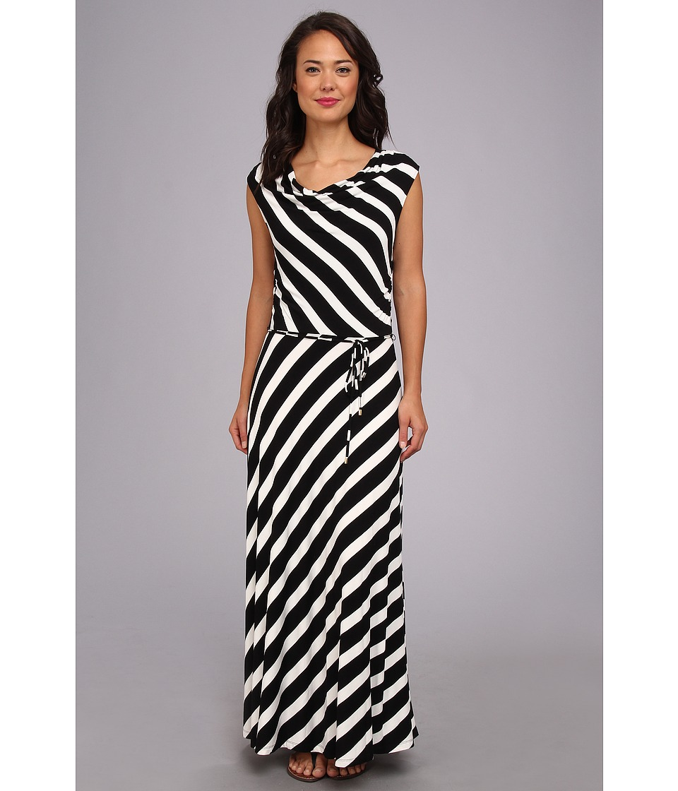 Calvin Klein - Stripe Maxi Dress (Black/White) Women's Dress