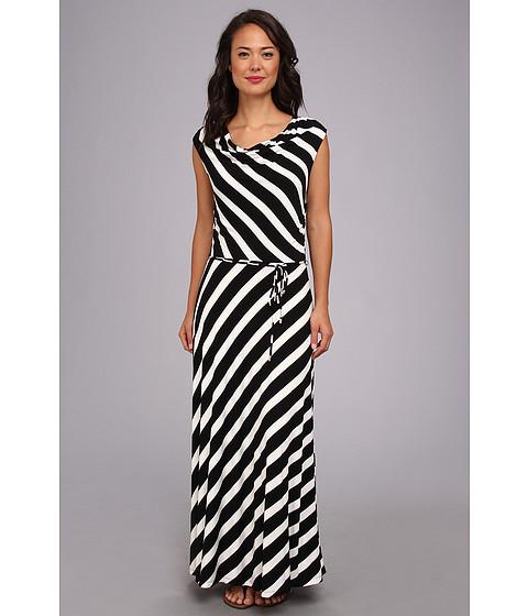 Calvin Klein - Stripe Maxi Dress (Black/White) Women's Dress