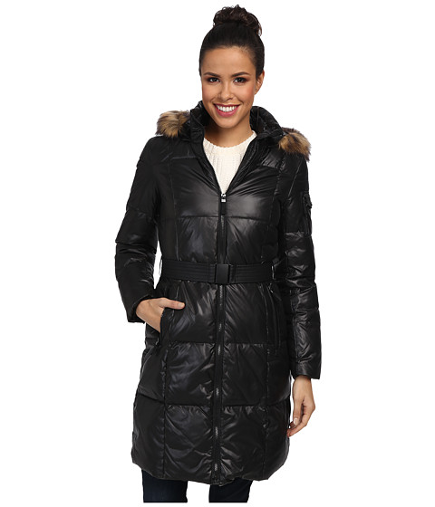 Marc New York by Andrew Marc - Abigal - Laquer w/ Faux Fur (Black) Women's Coat