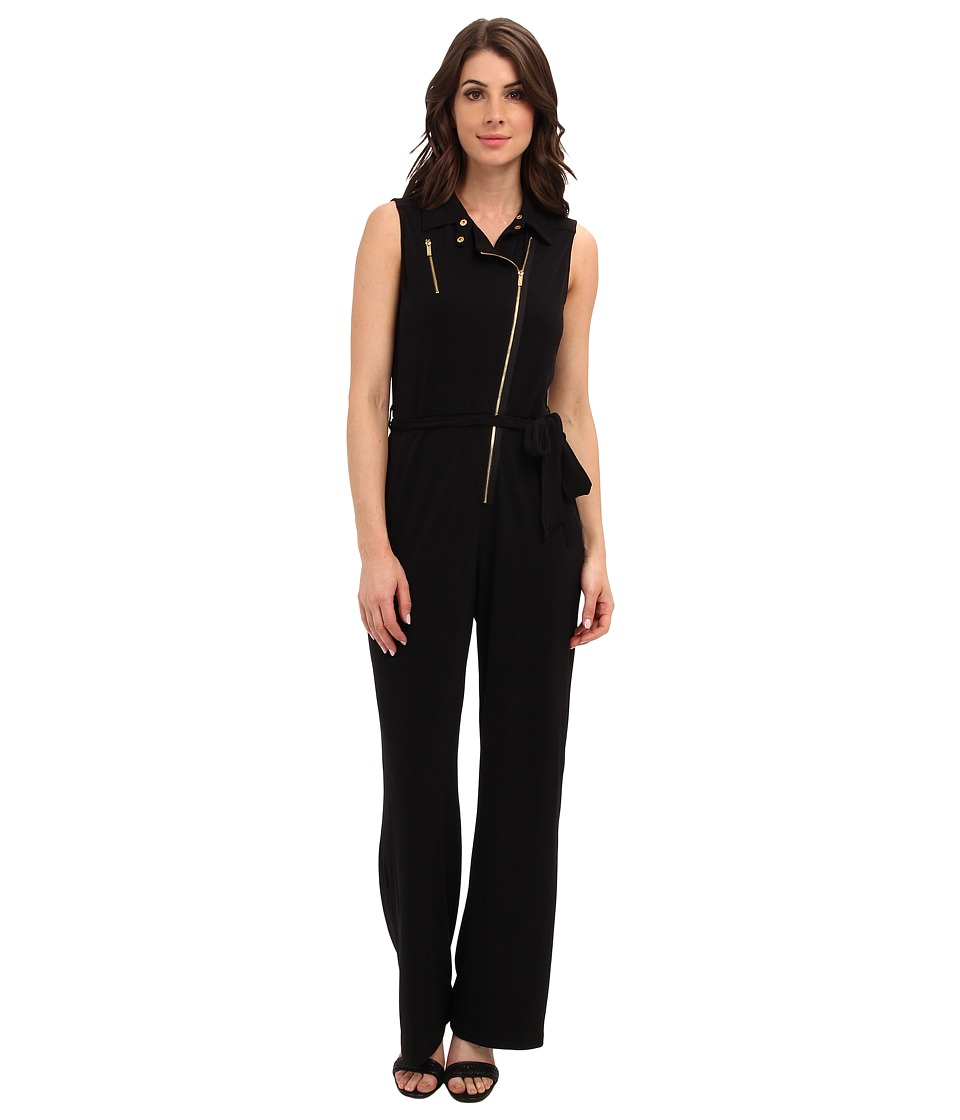 Calvin Klein - Moto Jump Suit w/ Zips (Black) Women's Jumpsuit & Rompers One Piece