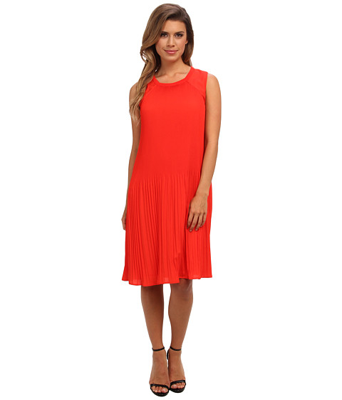Calvin Klein - S/L Pleated Dress (Tango Red) Women's Dress