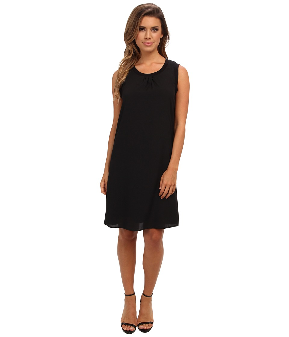 Calvin Klein - S/L Rib Trim Dress (Black) Women's Dress