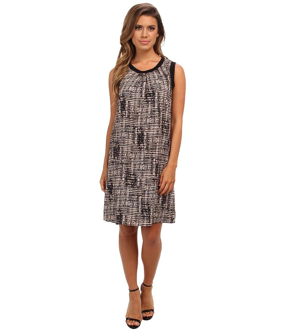 Calvin Klein Printed Rib Trim Dress (Beige Windowpane 2941) Women