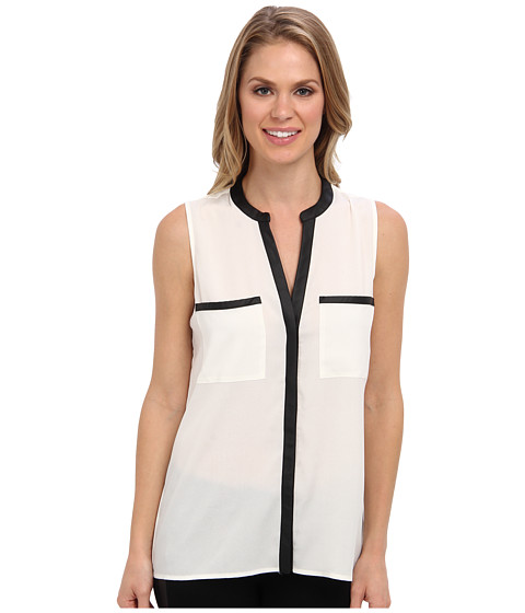 Calvin Klein - Top w/ PU Trim Pockets (Eggshell) Women