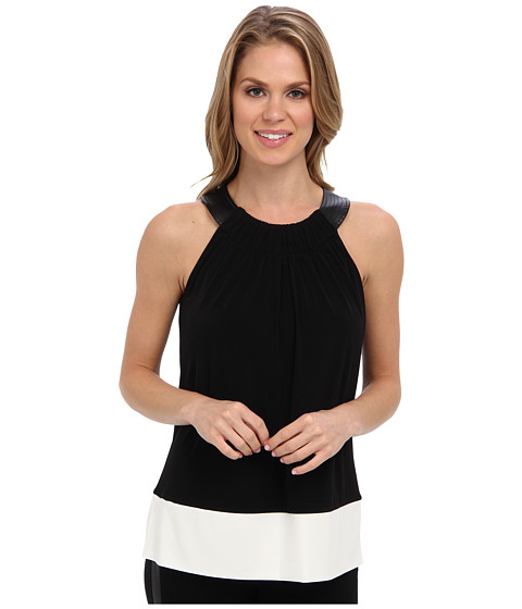 Calvin Klein - PU Trapunto Top (Black) Women's Blouse