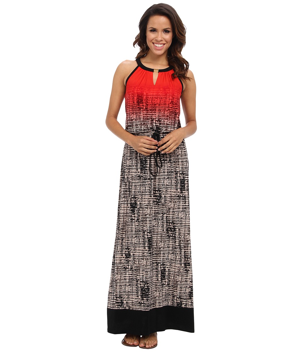 Calvin Klein - Keyhole Maxi Dress (Tango Multi 2987A) Women's Dress