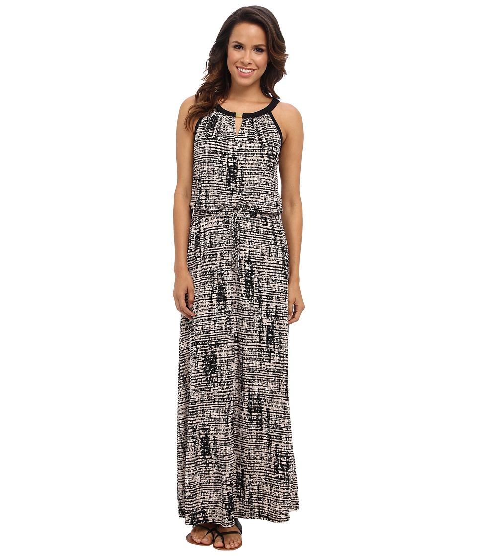 Calvin Klein - Keyhole Maxi Dress (Beige Windowpane 2941) Women