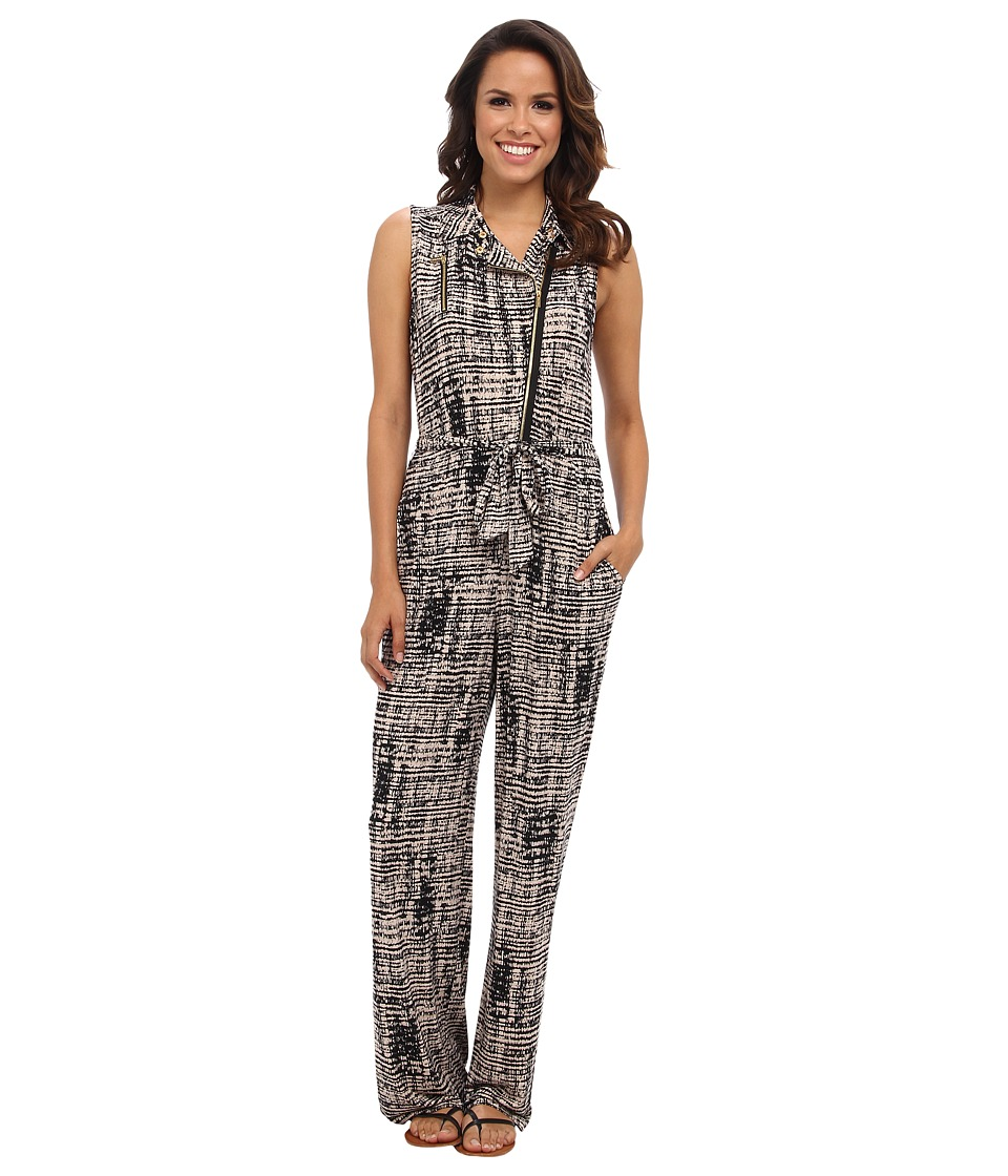 Calvin Klein - Printed Moto Jumpsuit (Beige Windowpane 2941) Women
