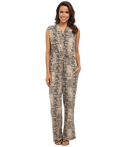 Calvin Klein - Printed Surplus Jumpsuit (Black/Light Latte Multi 1186 Washed P) Women