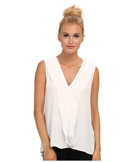 BCBGMAXAZRIA - Ellan Ruffle Sleeveless Top (White) Women