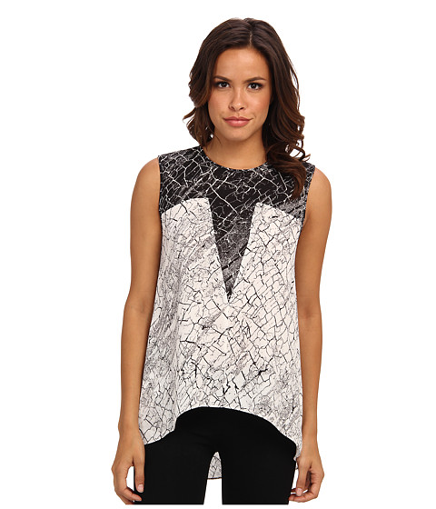 BCBGMAXAZRIA - Avie Print Blocked Sleeveless Top (Off White Black Combo) Women