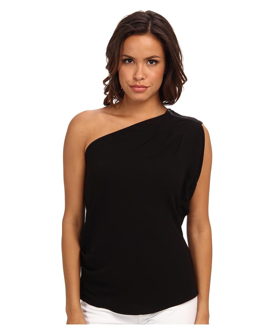 BCBGMAXAZRIA - Carli Sleeveless One Shoulder Top (Black) Women