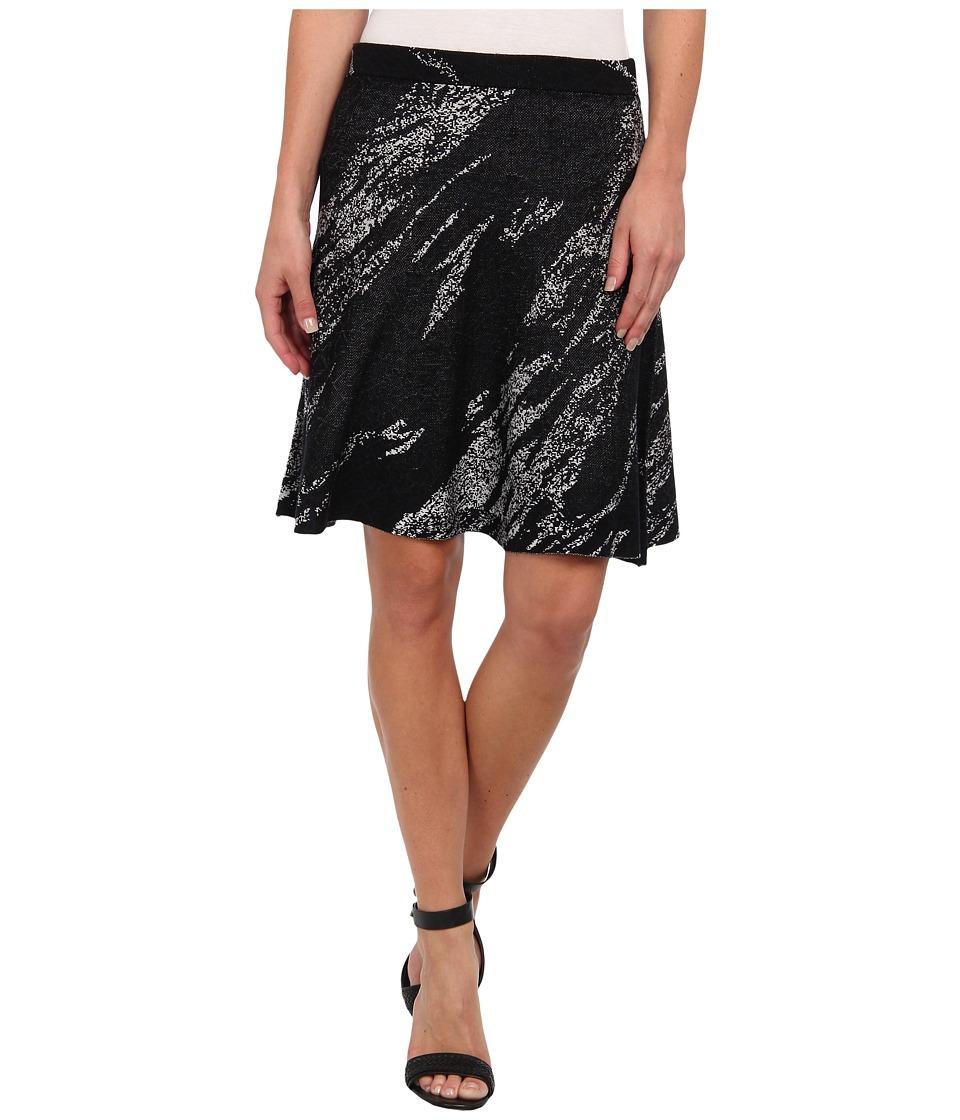 BCBGMAXAZRIA - Karlie Jacquard A-Line Skirt (Black Combo) Women