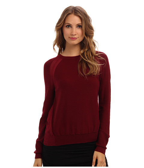 BCBGMAXAZRIA - Audri Sheer/Opaque Pullover Sweater (Deep Cranberry) Women's Sweater