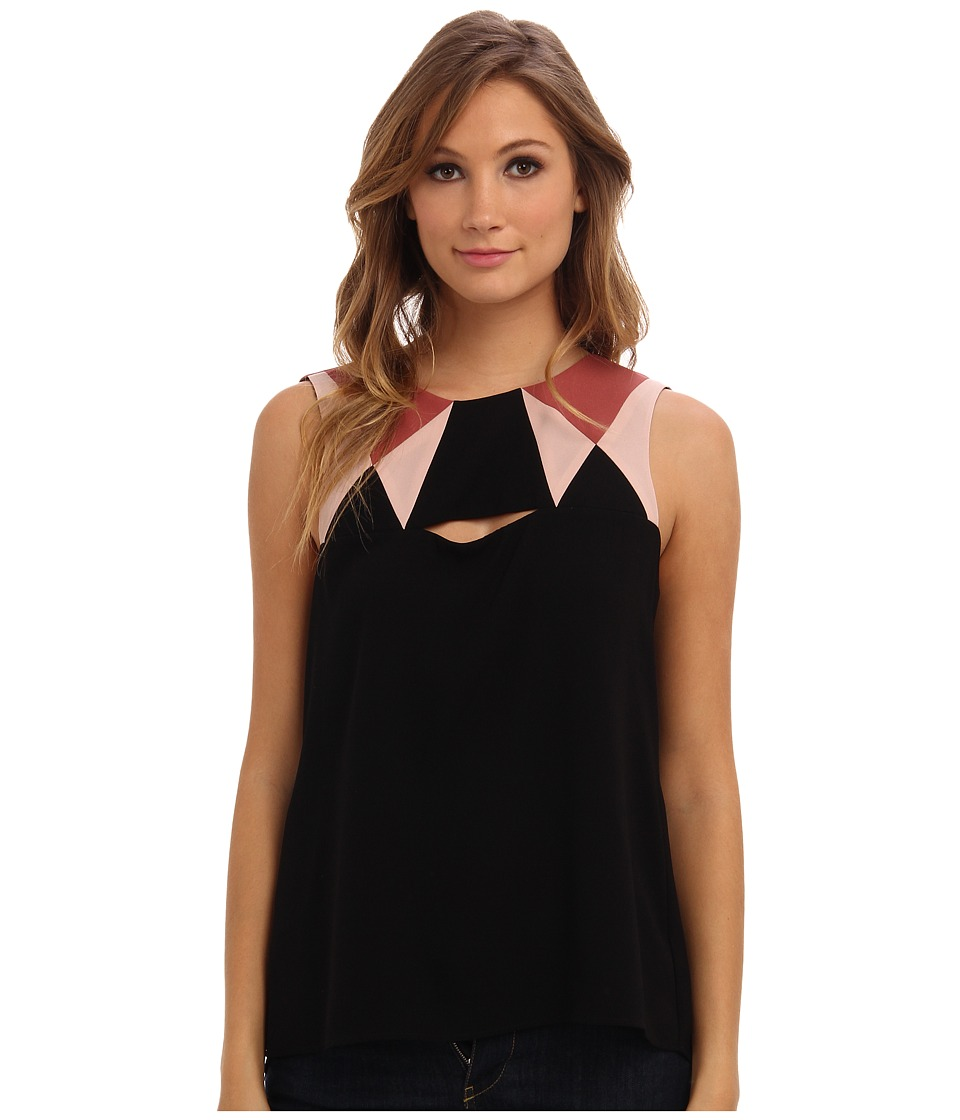 BCBGMAXAZRIA - Elin Color Blocked with Cutout Detail Tank Top (Black Combo) Women