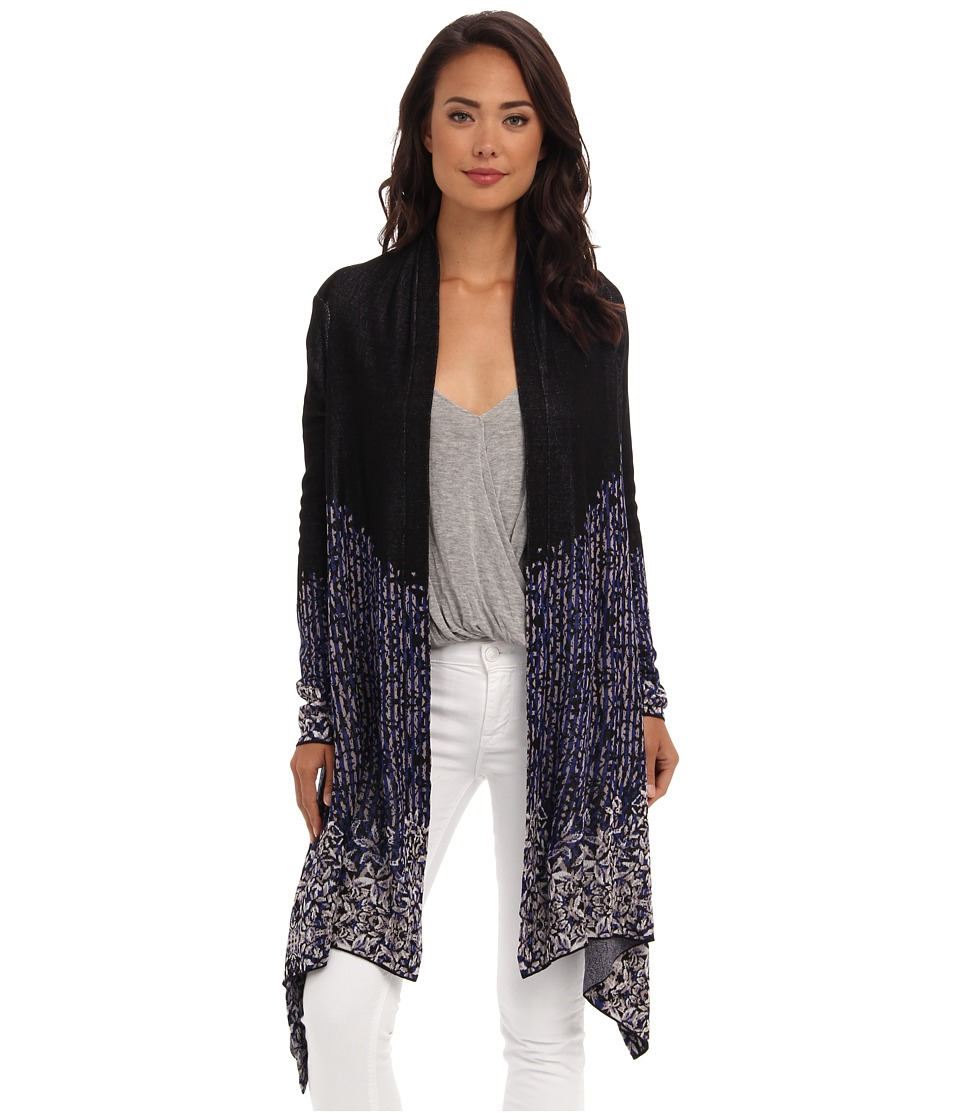 BCBGMAXAZRIA - Angelica Jacquard Cardi Wrap (Royal Blue Combo) Women's Sweater
