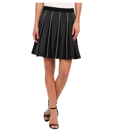 BCBGMAXAZRIA - Yaz A-Line with Piping Skirt (Black Combo) Women