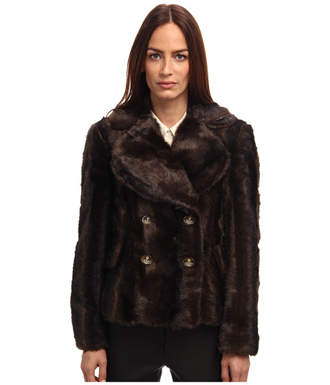 Vivienne Westwood Red Label - Faux Fur Cropped Jacket (Brown) Women's Coat
