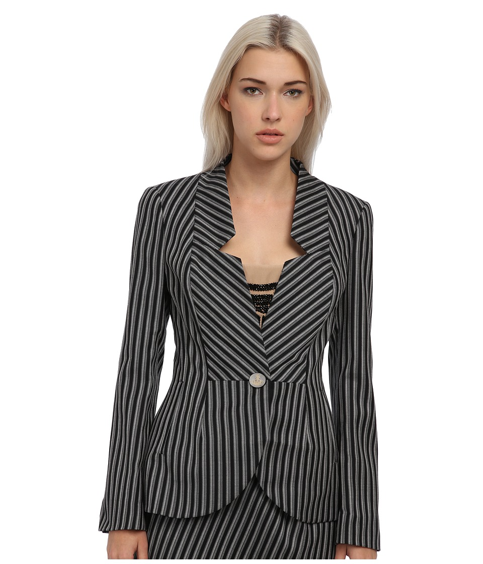 Vivienne Westwood Red Label - Striped No Collar Blazer (Black/White) Women's Jacket