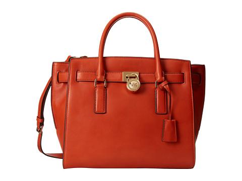 MICHAEL Michael Kors Hamilton Traveler Large Traveler (Orange) Satchel Handbags