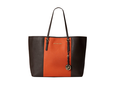 MICHAEL Michael Kors Jet Set Travel Center Stripe Medium Travel Tote (Coffee/Burnt Orange) Tote Handbags