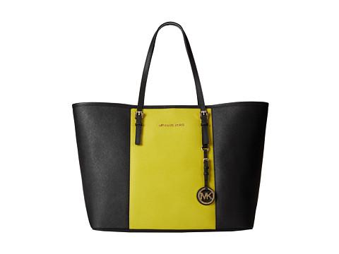 MICHAEL Michael Kors Jet Set Travel Center Stripe Medium Travel Tote (Black/Apple) Tote Handbags