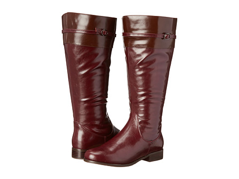 rsvp - Derby Extra Wide Calf (Burgundy PU/Brown PU Trim) Women's Wide Shaft Boots
