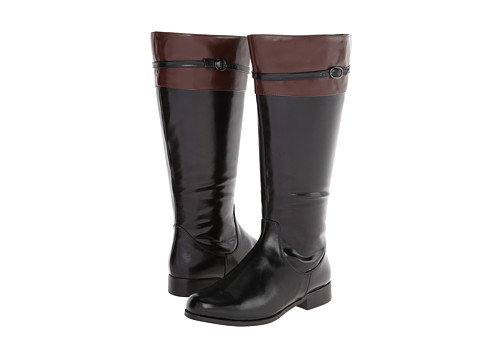 rsvp - Derby Extra Wide Calf (Black PU/Brown PU Trim) Women