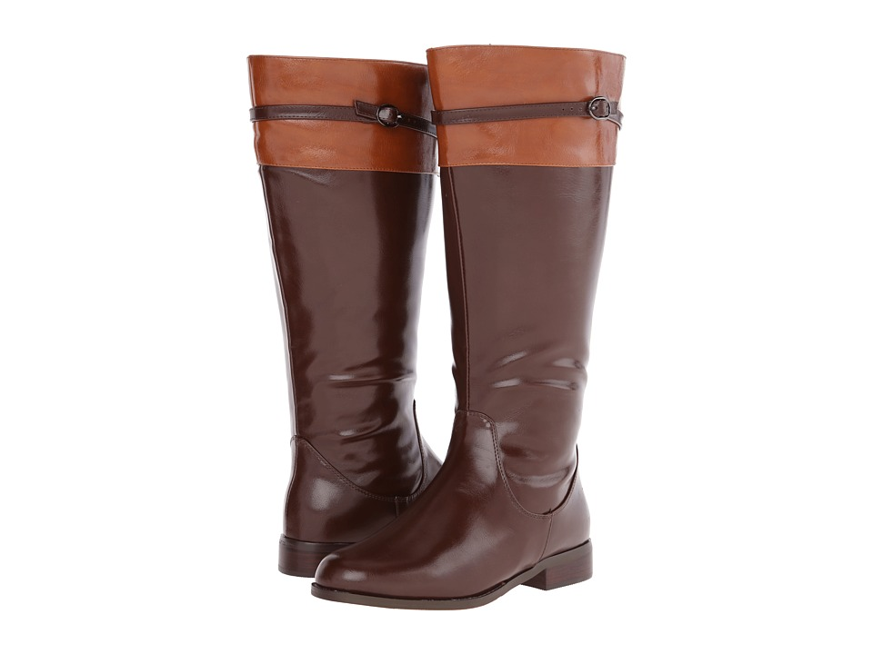 rsvp - Derby Extra Wide Calf (Dark Brown PU/Tan PU Trim) Women