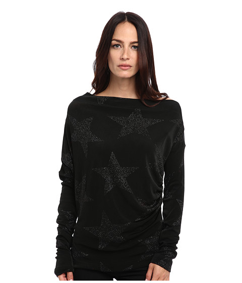 Vivienne Westwood Anglomania - L/S New Drape Top (Black Star) Women's Clothing