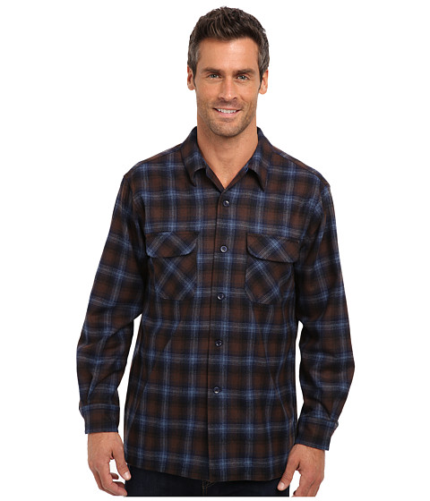 Pendleton - L/S Board Shirt (Blue/Brown/Navy/Plaid) Men's Long Sleeve Button Up