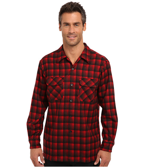 Pendleton - L/S Board Shirt (Red/Black Ombre 1) Men's Long Sleeve Button Up