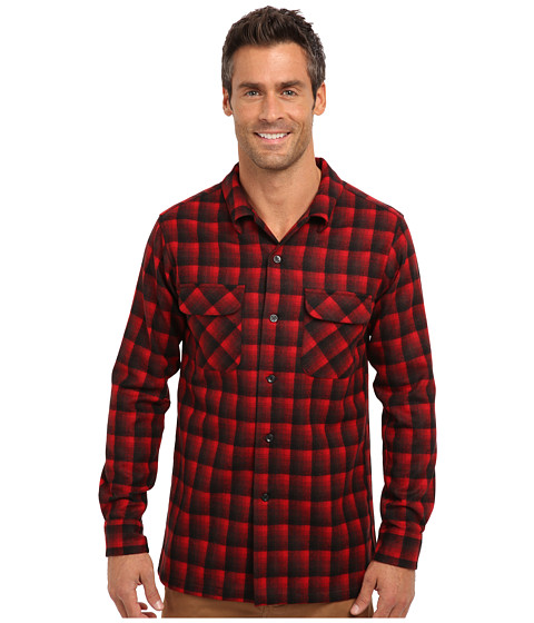 Pendleton - L/S Fitted Board Shirt (Red/Black Ombre) Men's Long Sleeve Button Up