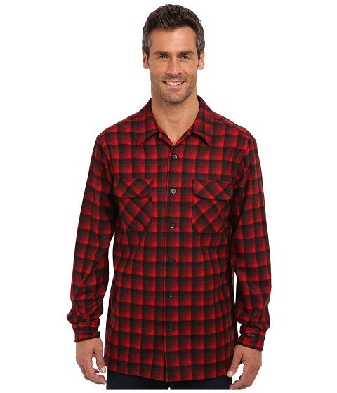 Pendleton - L/S Board Shirt (Tall) (Red/Black Ombre) Men's Long Sleeve Button Up