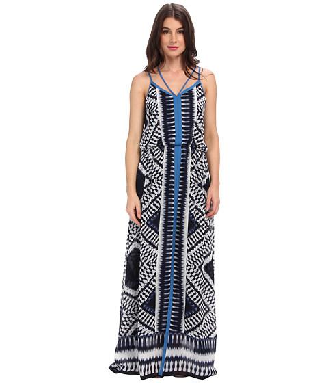 Adrianna Papell - Spaghetti Strap Maxi Dress w/ Diamond Ikat Motif Crossover Back Detail (Navy/Ivory) Women