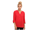 Adrianna Papell Button-Down Blouse w/ Roll-Tab Sleeve (Poppy)