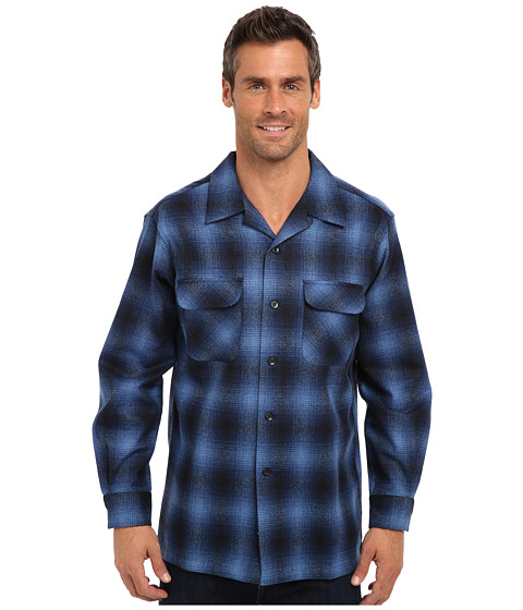Pendleton - L/S Board Shirt (Blue/Black Ombre) Men's Long Sleeve Button Up