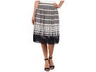 Adrianna Papell Full Skirt w/ Stripe Motif Placement Print Hem (Blue Moon)