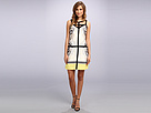 Adrianna Papell V-Neck Color Block Dress w/ Solid Piping